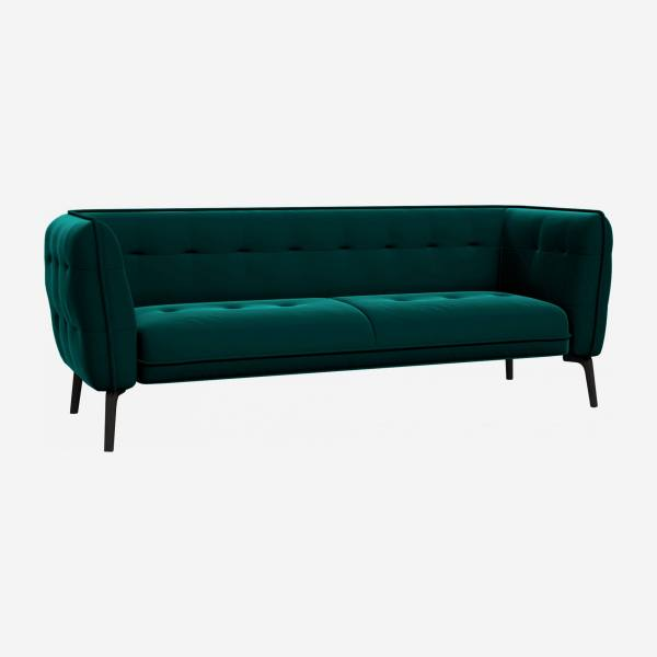3 seater sofa in Super Velvet fabric, petrol blue and dark feet