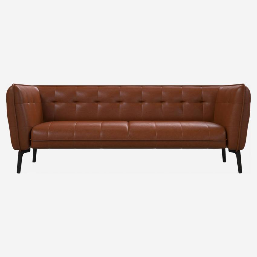 3 seater sofa in Vintage aniline leather, old chestnut and dark feet