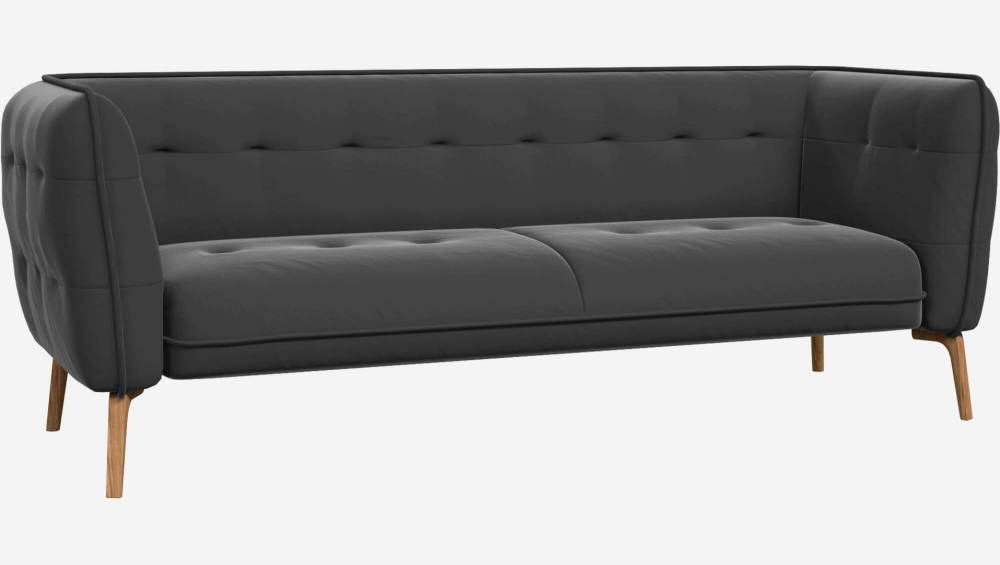 3 seater sofa in Super Velvet fabric, silver grey and natural oak feet