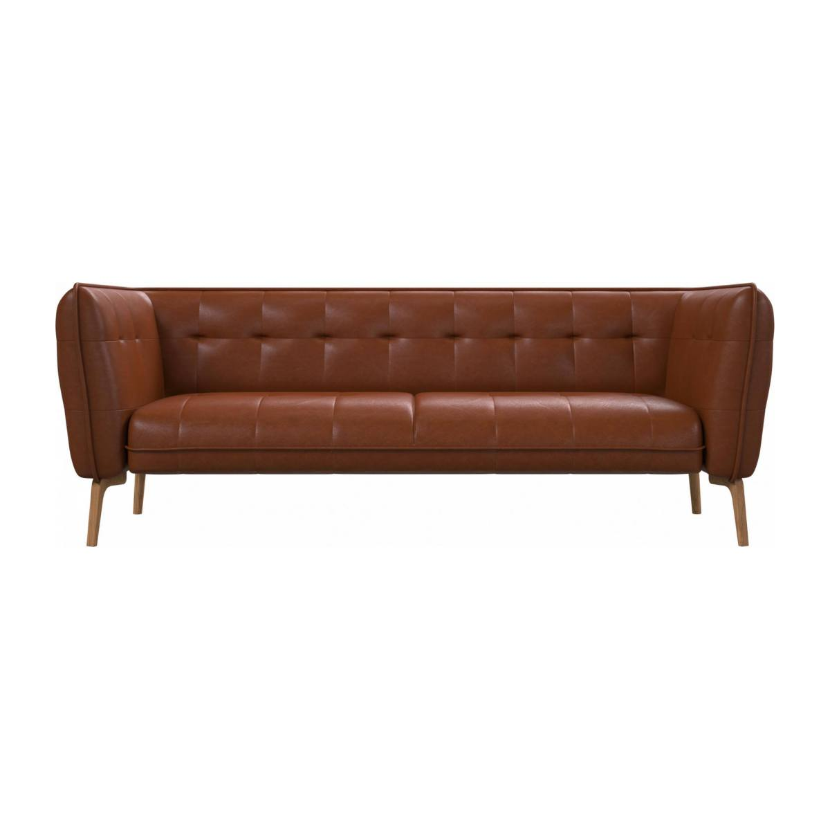 3 seater sofa in Vintage aniline leather, old chestnut and natural oak feet n°1