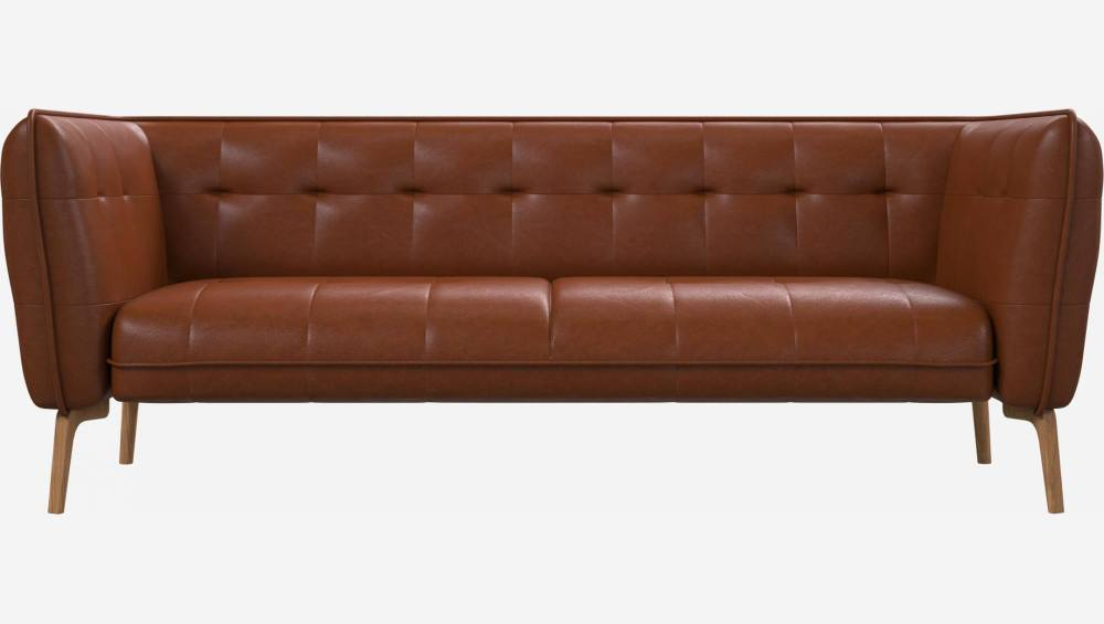 3 seater sofa in Vintage aniline leather, old chestnut and natural oak feet