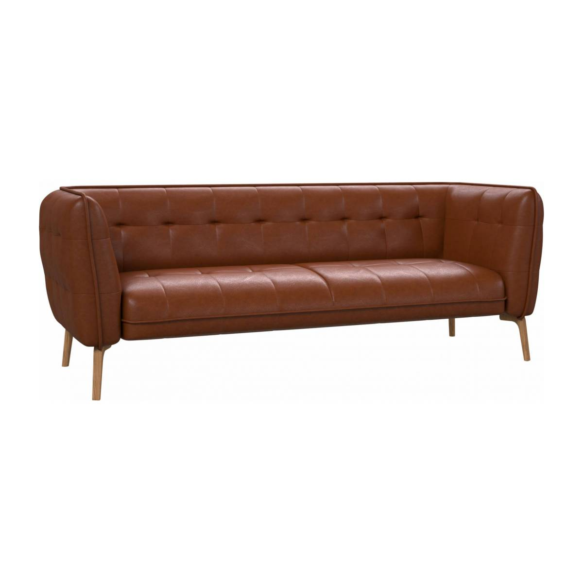 3 seater sofa in Vintage aniline leather, old chestnut and natural oak feet n°2