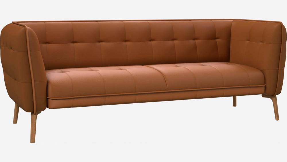 3 seater sofa in Savoy semi-aniline leather, cognac and natural oak feet