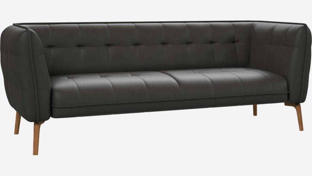 3 seater sofa in Savoy semi-aniline leather, grey and natural oak feet