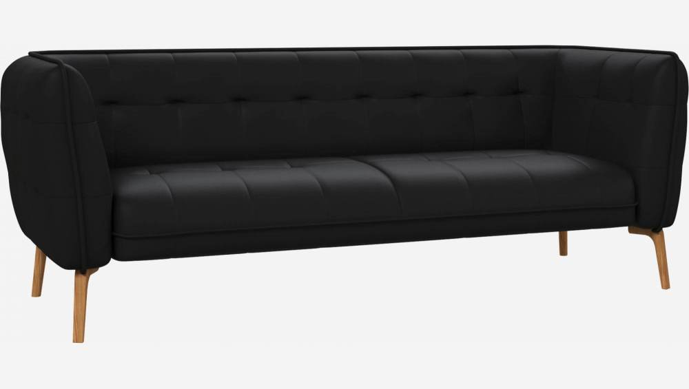 3 seater sofa in Eton veined leather, black and natural oak feet