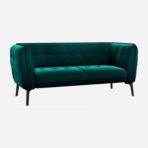 2 seater sofa in Super Velvet fabric, petrol blue and black feet