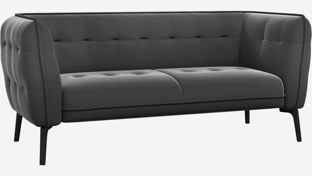 2 seater sofa in Super Velvet fabric, silver grey and black feet