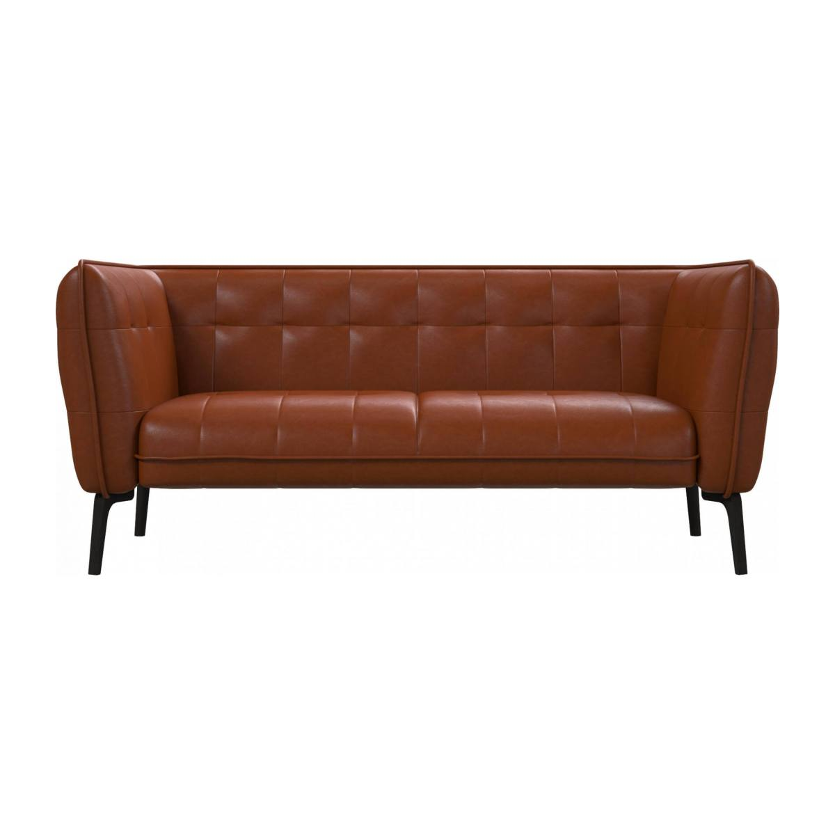 2 seater sofa in Vintage aniline leather, old chestnut and dark feet n°1