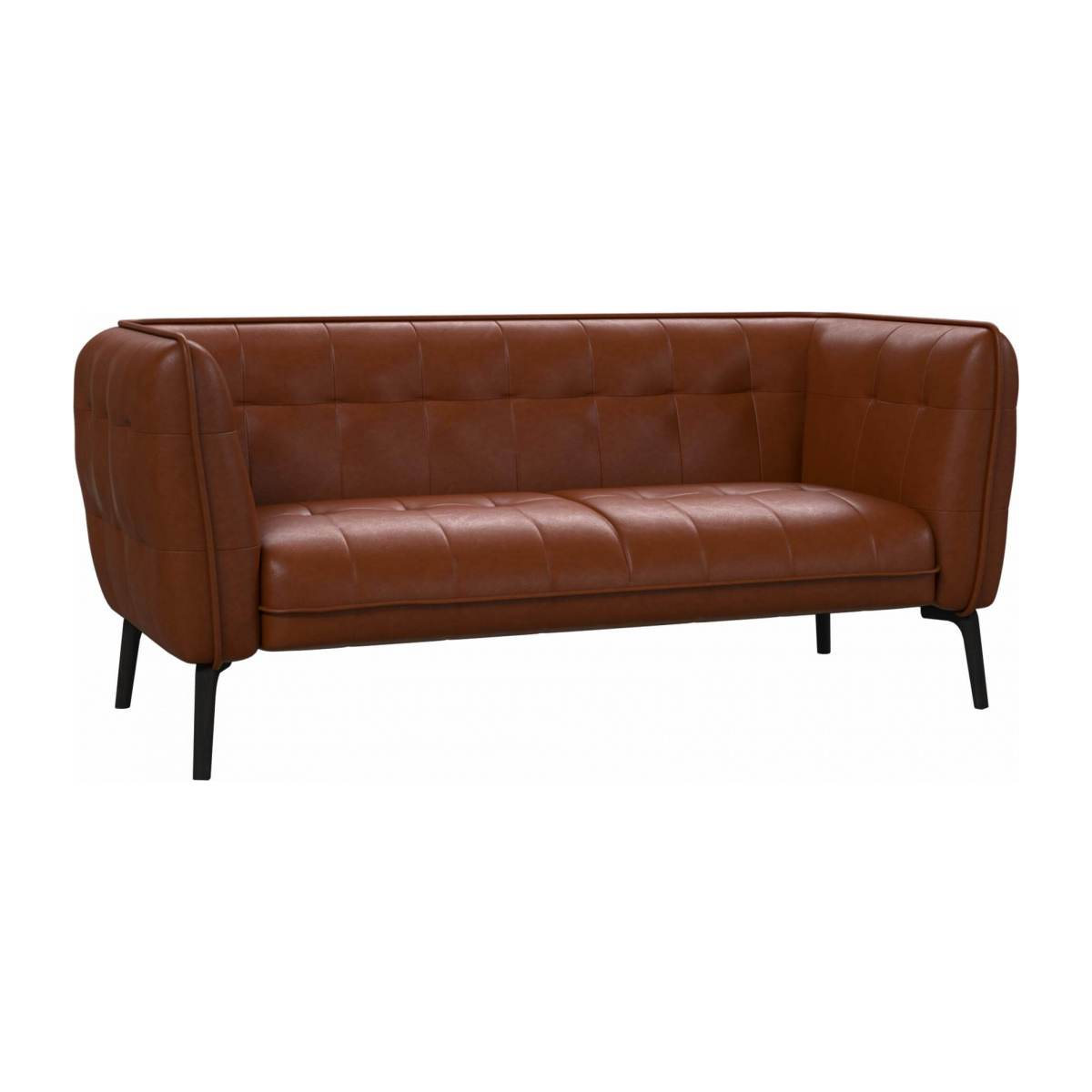 2 seater sofa in Vintage aniline leather, old chestnut and dark feet n°2