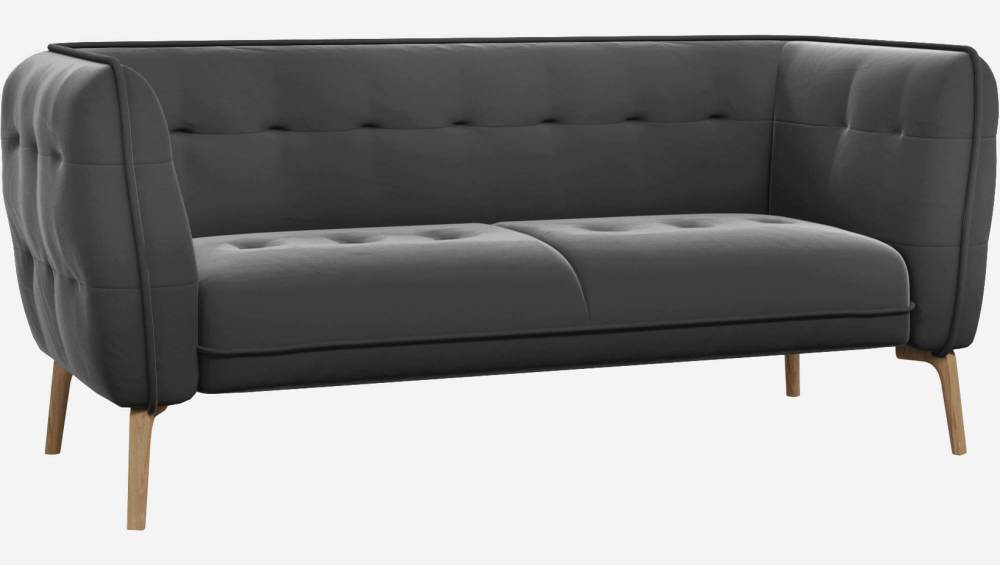 2 seater sofa in Super Velvet fabric, silver grey and natural oak feet
