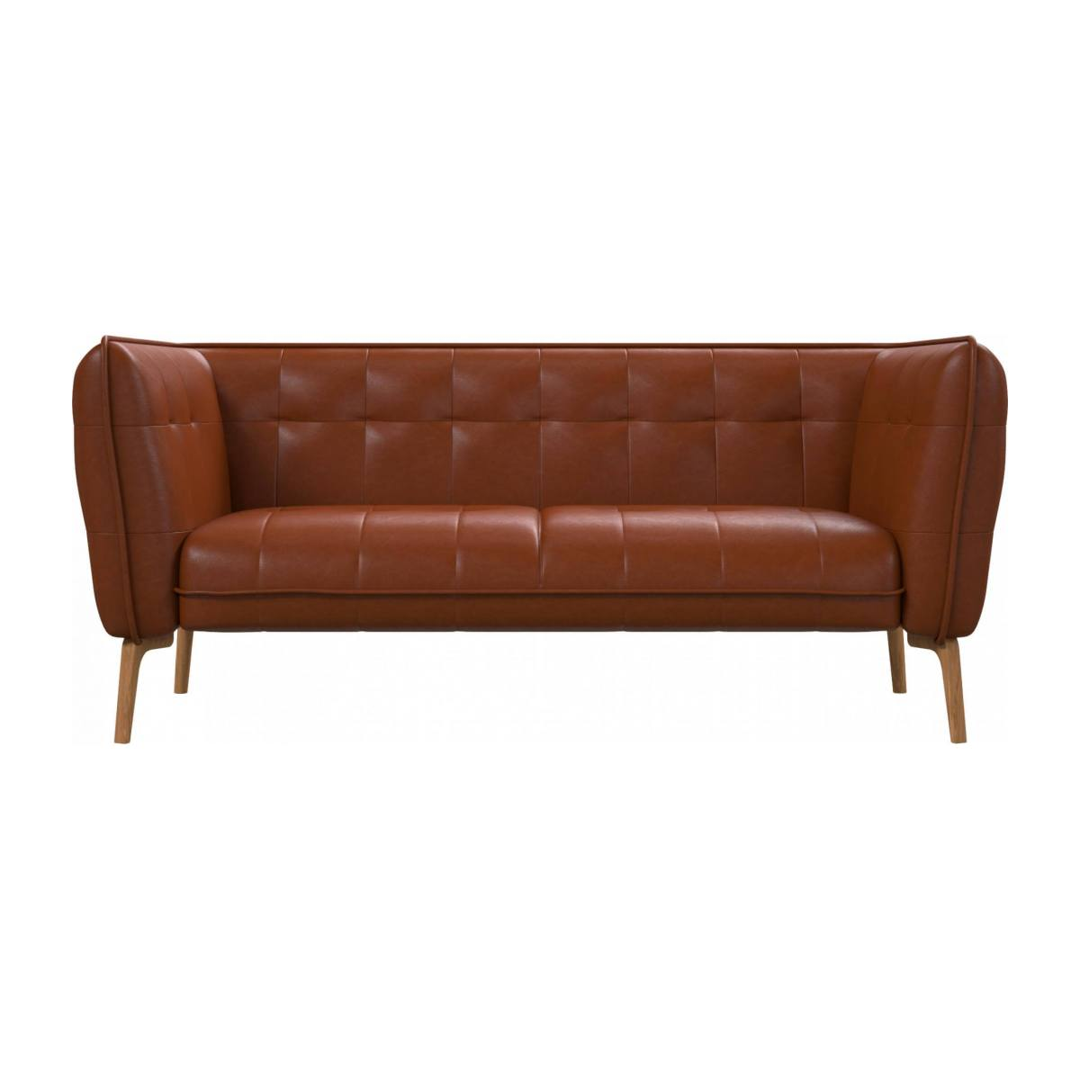 2 seater sofa in Vintage aniline leather, old chestnut and natural oak feet n°1