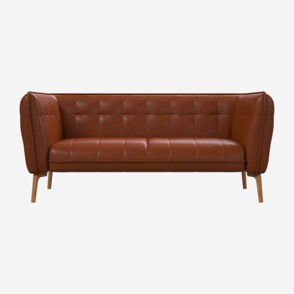 2 seater sofa in Vintage aniline leather, old chestnut and natural oak feet