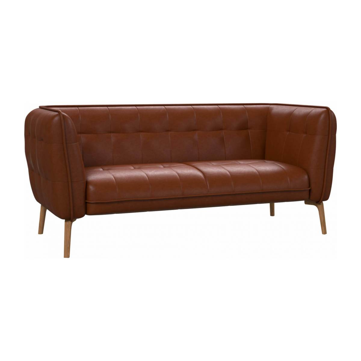 2 seater sofa in Vintage aniline leather, old chestnut and natural oak feet n°2