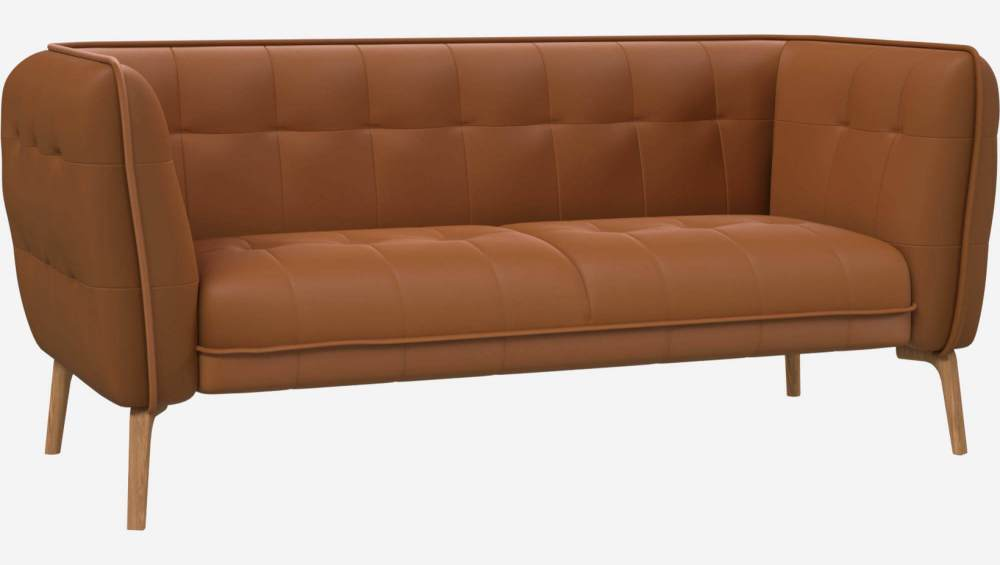 2 seater sofa in Savoy semi-aniline leather, cognac and natural oak feet