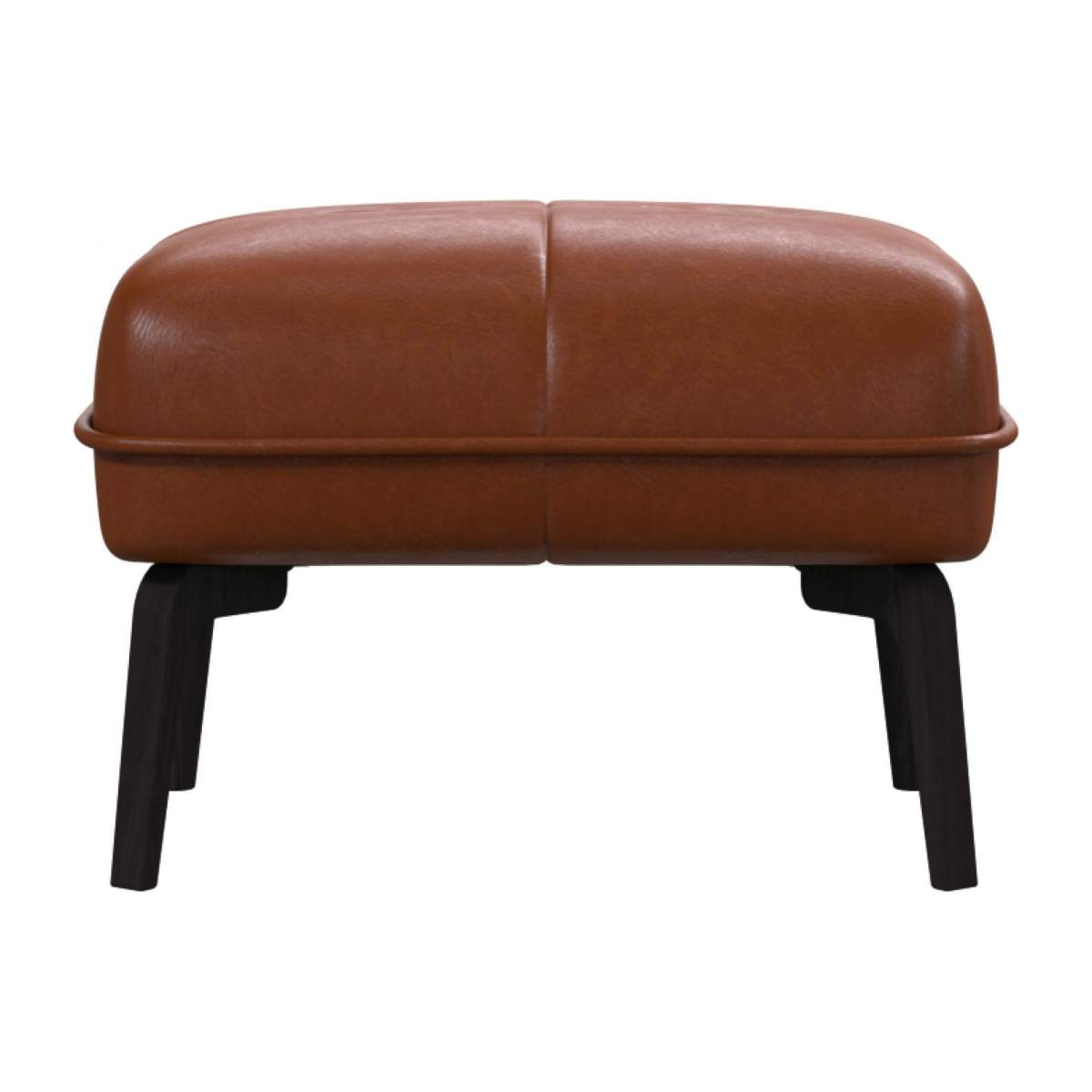 Footstool in Vintage aniline leather, old chestnut and dark feet n°1