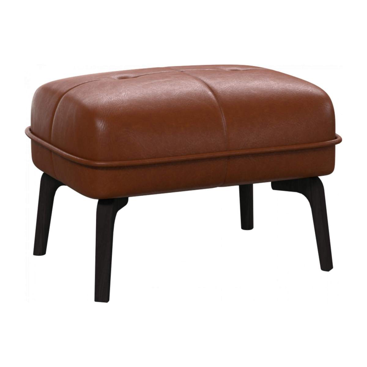 Footstool in Vintage aniline leather, old chestnut and dark feet n°2