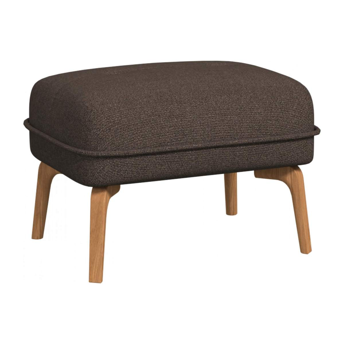 Footstool in Lecce fabric, muscat and natural oak feet n°2