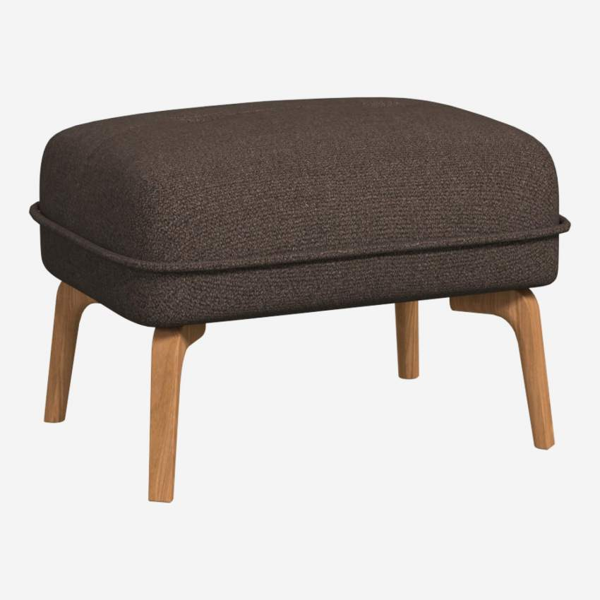 Footstool in Lecce fabric, muscat and natural oak feet