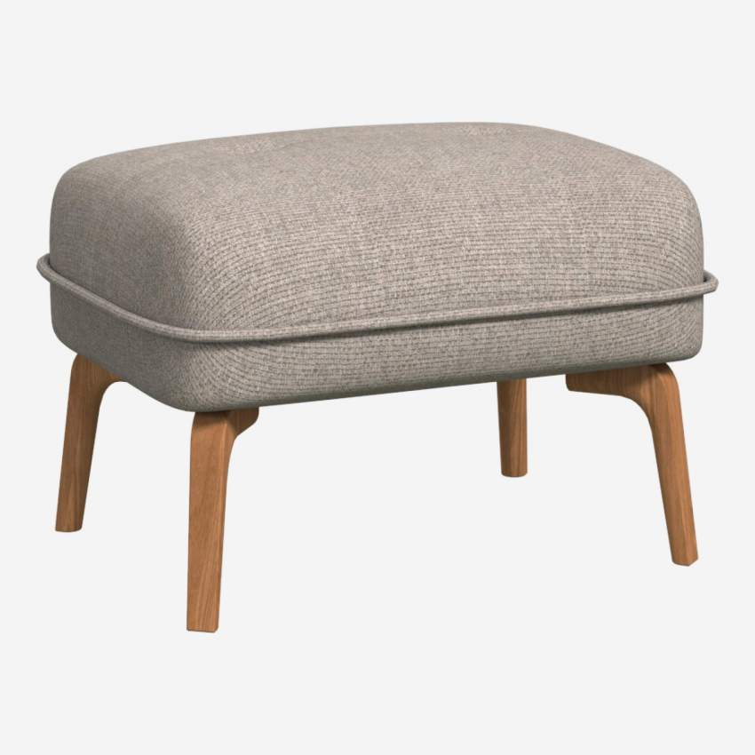 Footstool in Lecce fabric, nature and natural oak feet