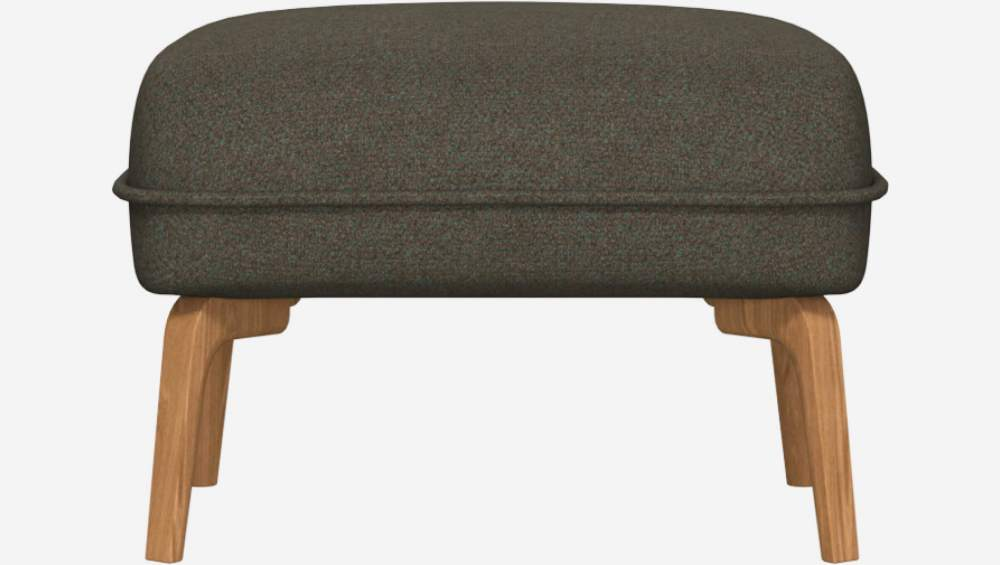 Footstool in Lecce fabric, slade grey and natural oak feet