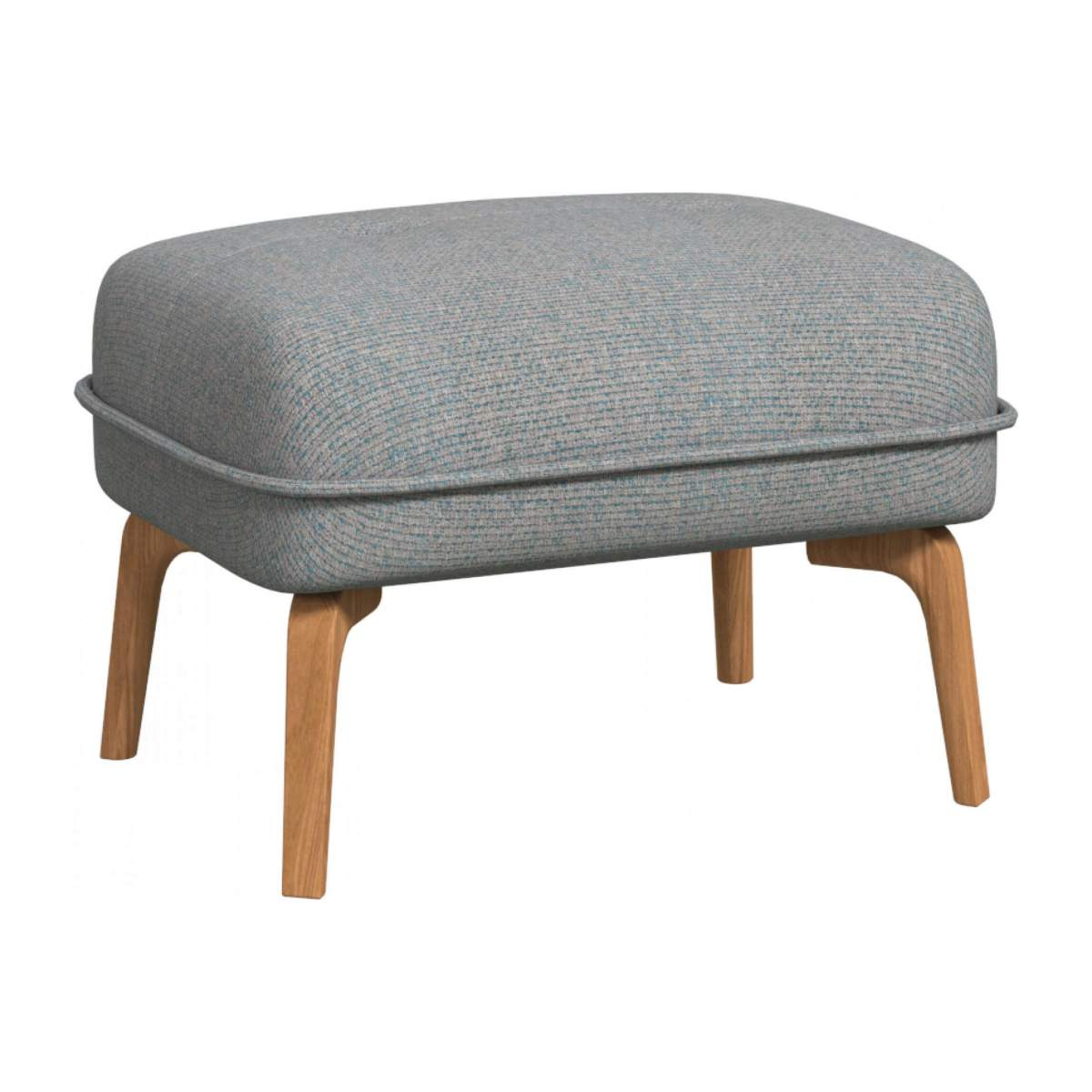 Footstool in Lecce fabric, blue reef and natural oak feet n°2