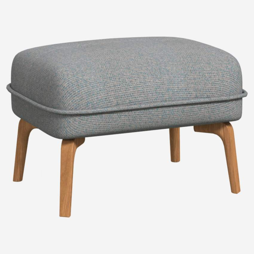 Footstool in Lecce fabric, blue reef and natural oak feet