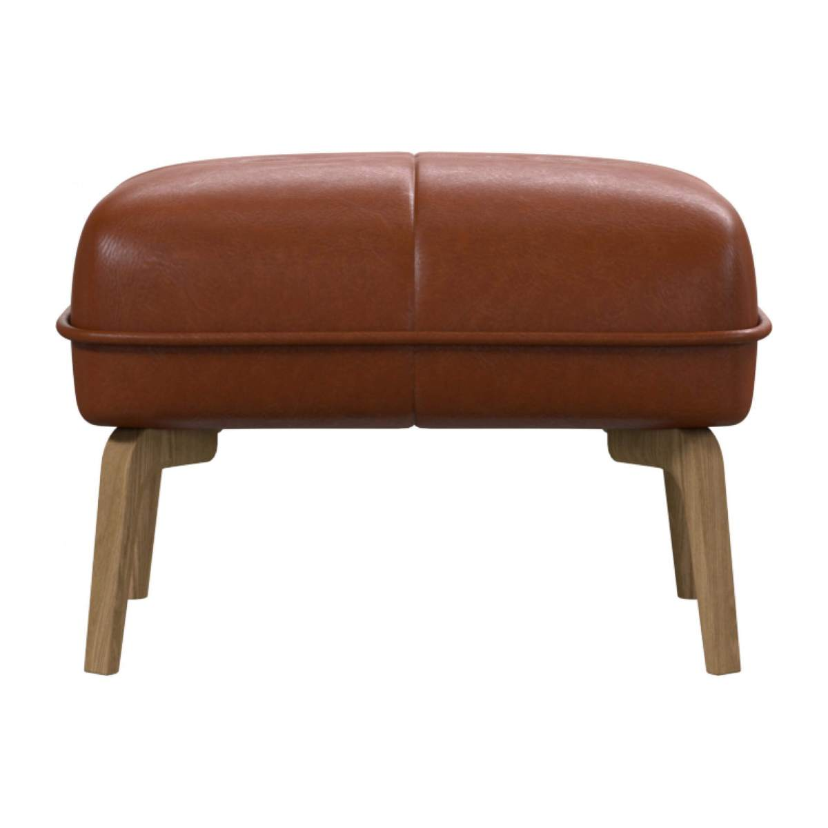 Footstool in Vintage aniline leather, old chestnut and natural oak feet n°1