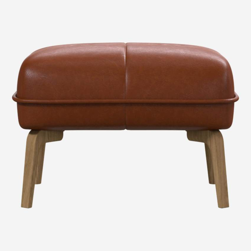 Footstool in Vintage aniline leather, old chestnut and natural oak feet
