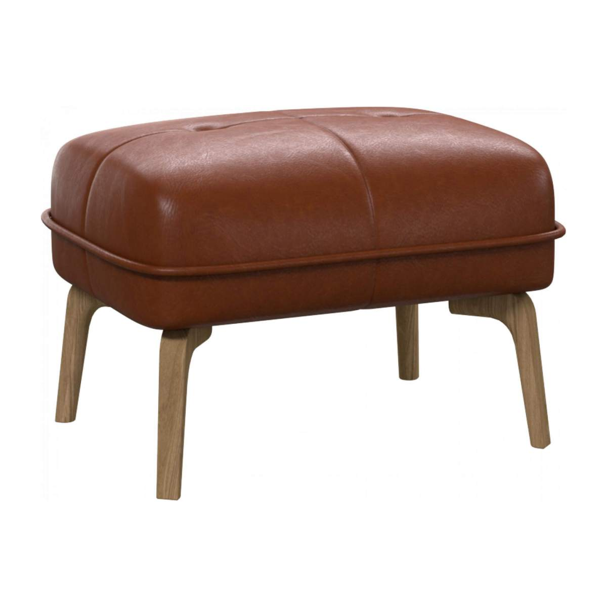 Footstool in Vintage aniline leather, old chestnut and natural oak feet n°2