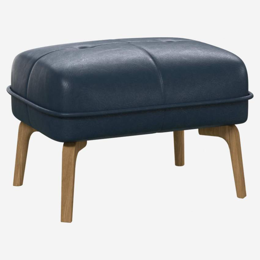Footstool in Vintage aniline leather, denim blue and natural oak feet