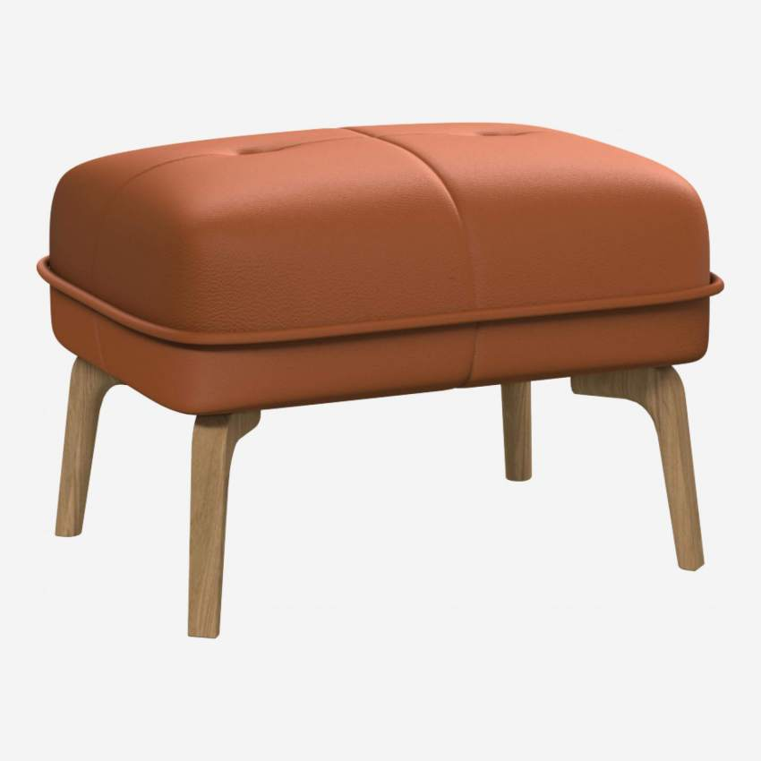 Footstool in Savoy semi-aniline leather, cognac and natural oak feet