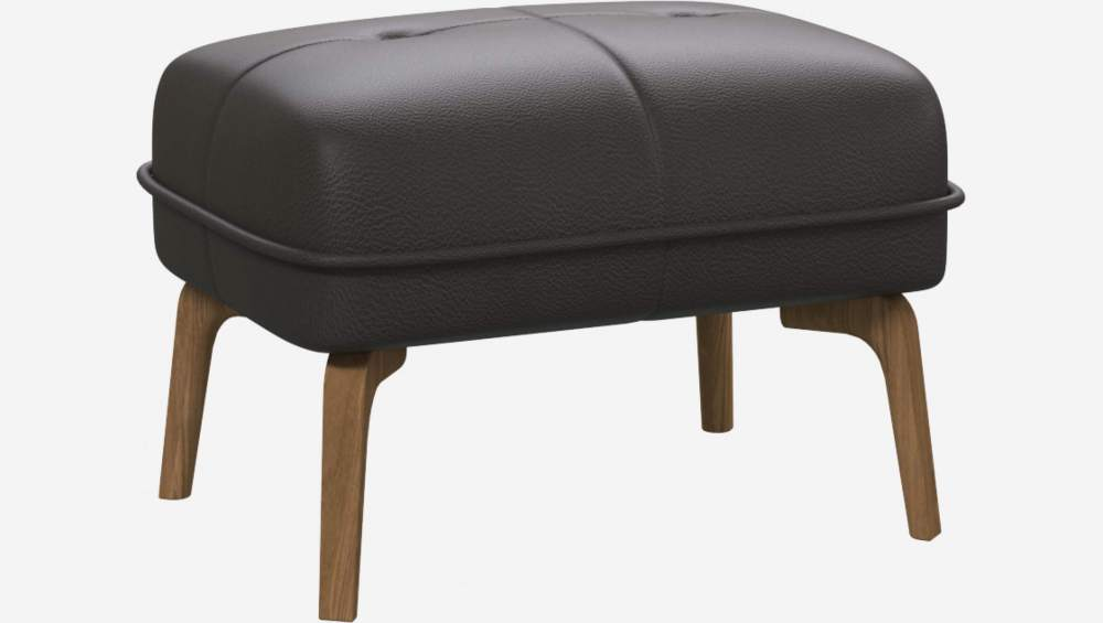 Footstool in Savoy semi-aniline leather, grey and natural oak feet