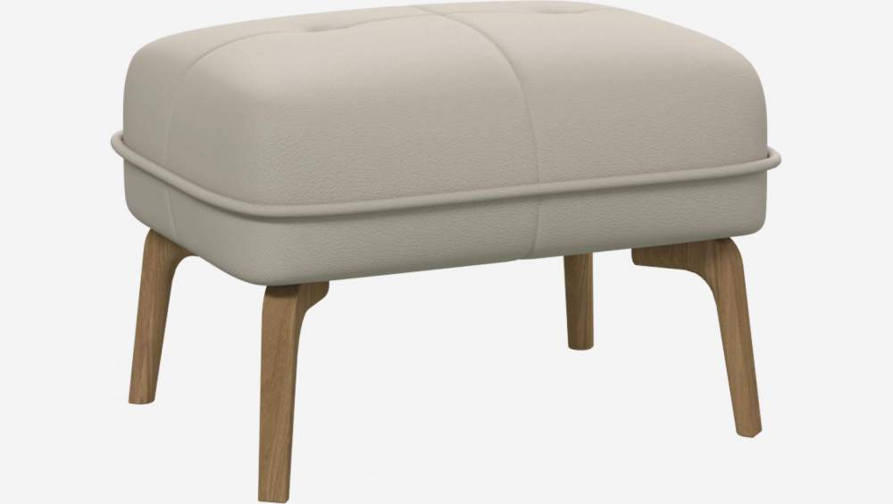 Footstool in Eton veined leather, cream and natural oak feet