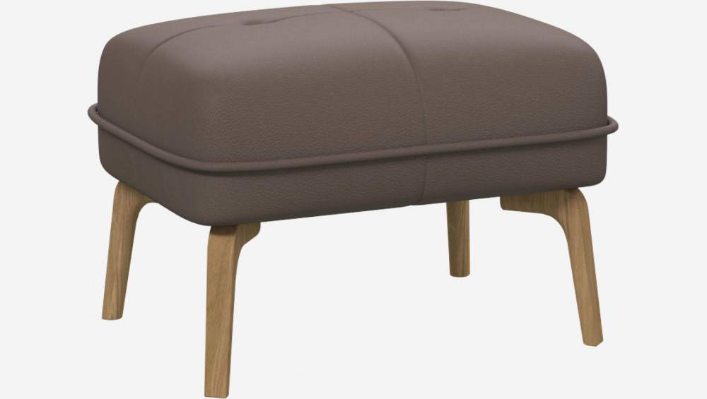 Footstool in Eton veined leather, stone and natural oak feet