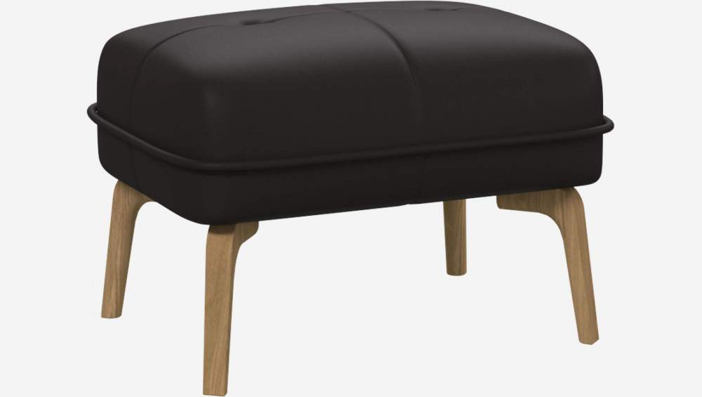 Footstool in Eton veined leather, brown and natural oak feet
