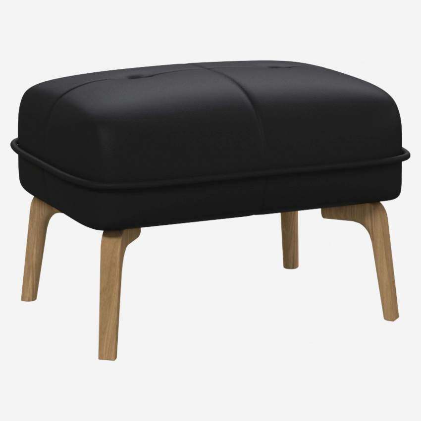 Footstool in Eton veined leather, black and natural oak feet