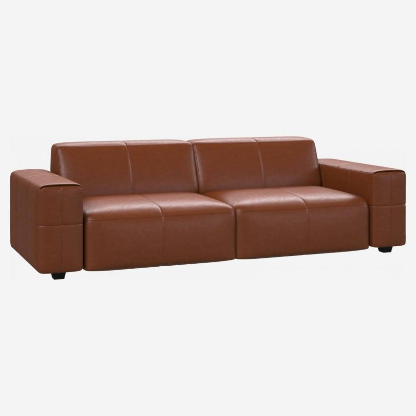 4 seater sofa in Vintage aniline leather, old chestnut
