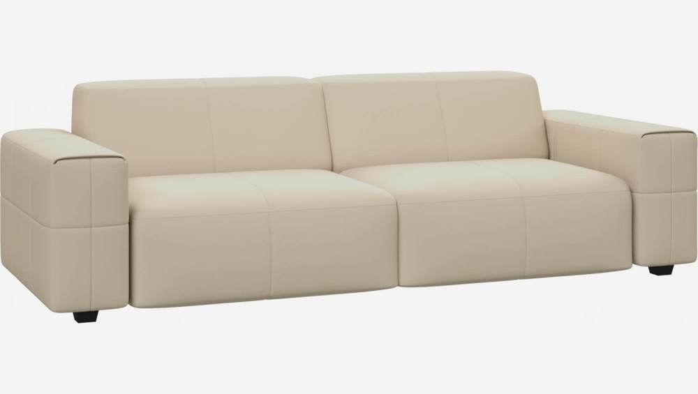 4 seater sofa in Savoy semi-aniline leather, off white