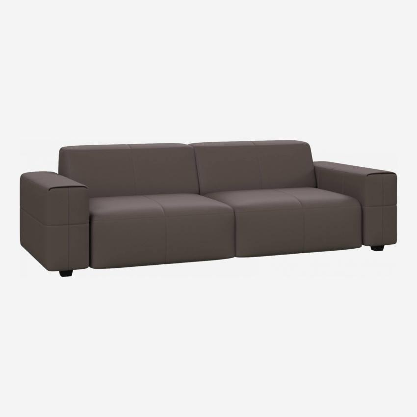 4 seater sofa in Eton veined leather, stone