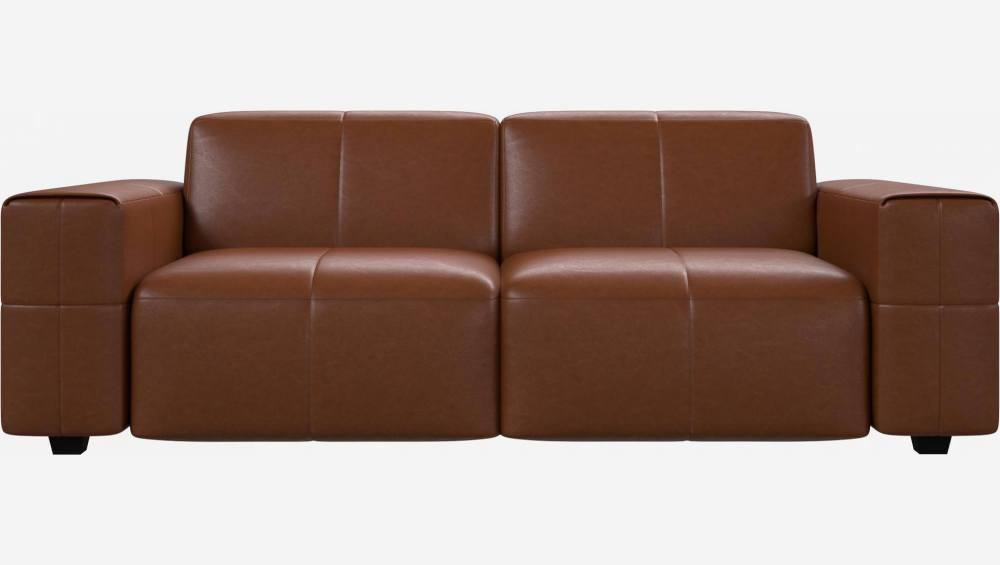 3-Sitzer Sofa aus Anilinleder Vintage Leather old chestnut