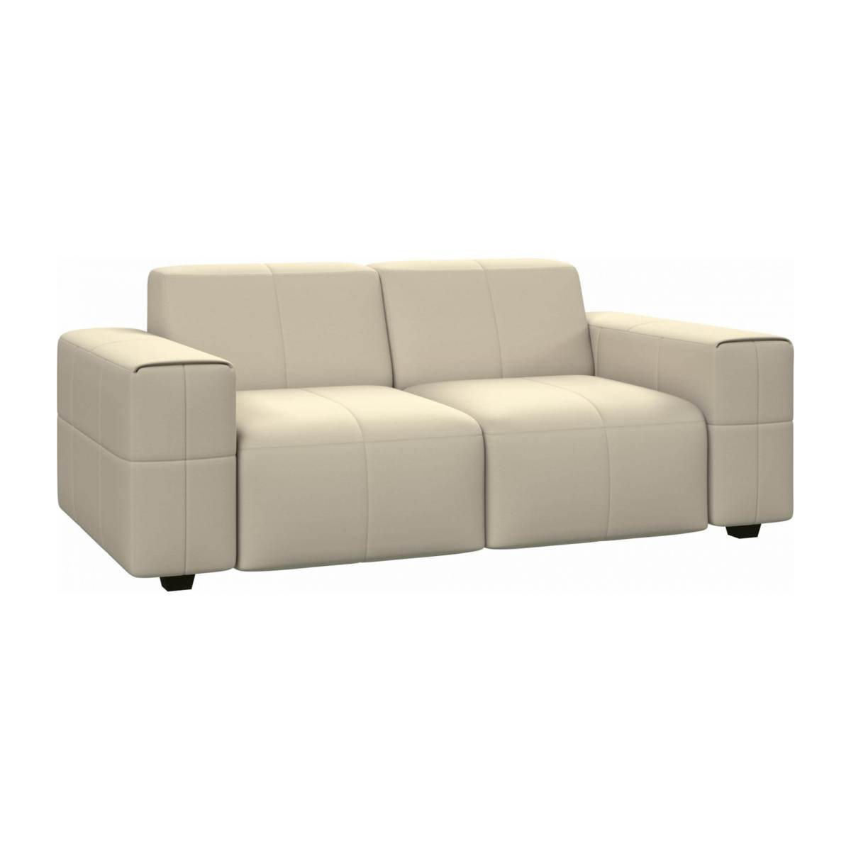 2 seater sofa in Eton veined leather, cream n°3