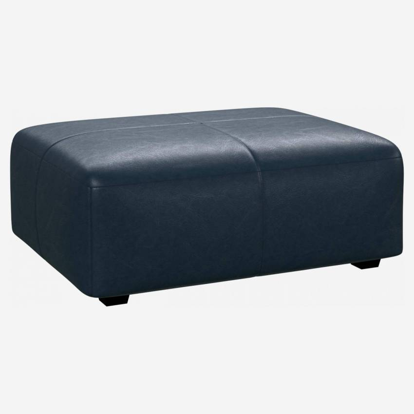 Footstool in Vintage aniline leather, denim blue