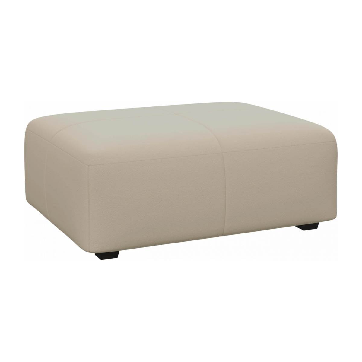 Footstool in Savoy semi-aniline leather, off white n°3