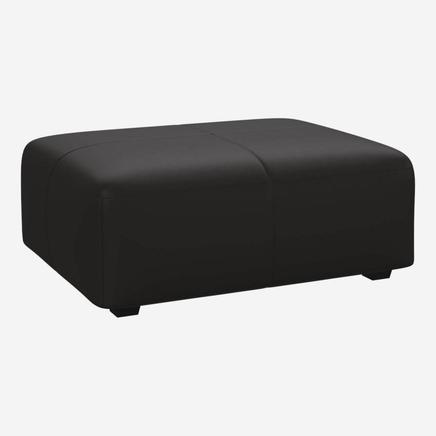 Footstool in Eton veined leather, brown