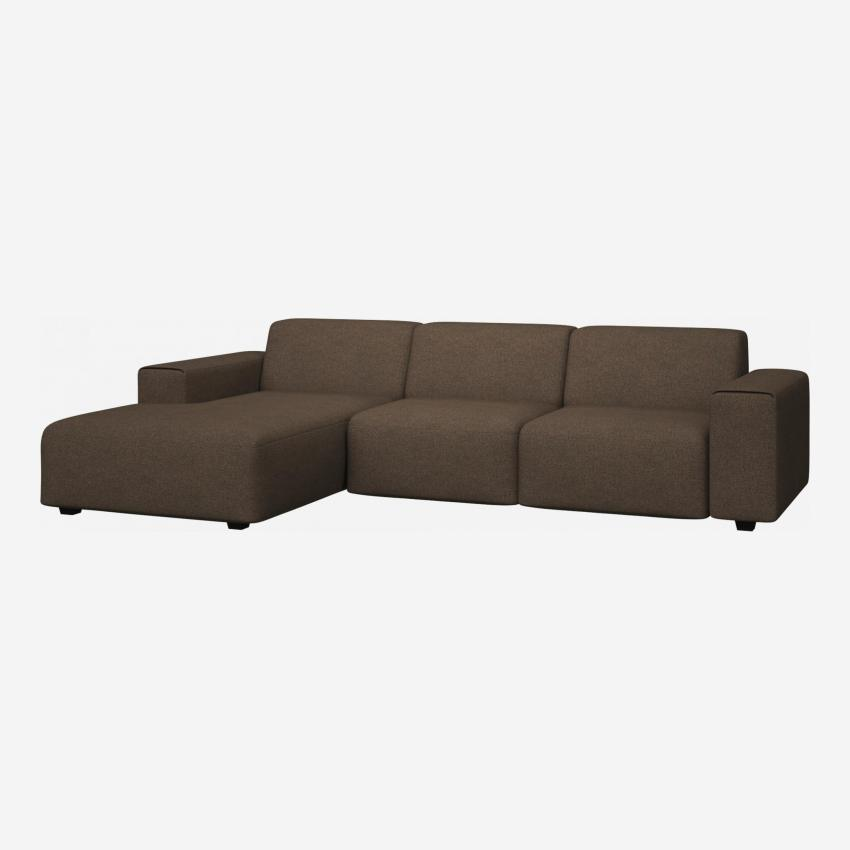 3 seater sofa with chaise longue on the left in Lecce fabric, burned orange