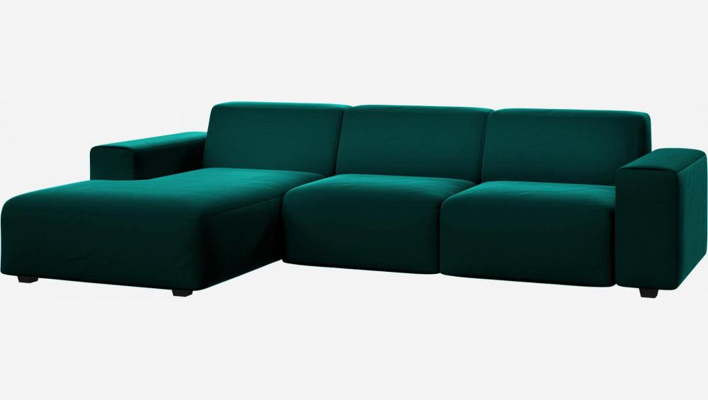 3 seater sofa with chaise longue on the left in Super Velvet fabric, petrol blue