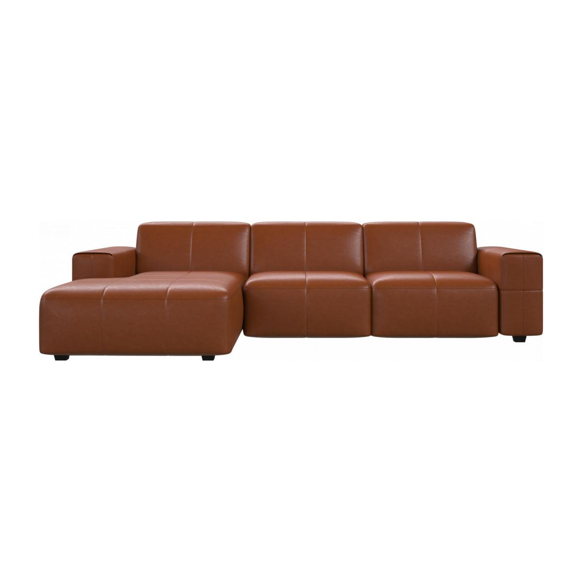 3 seater sofa with chaise longue on the left in Vintage aniline leather, old chestnut n°1