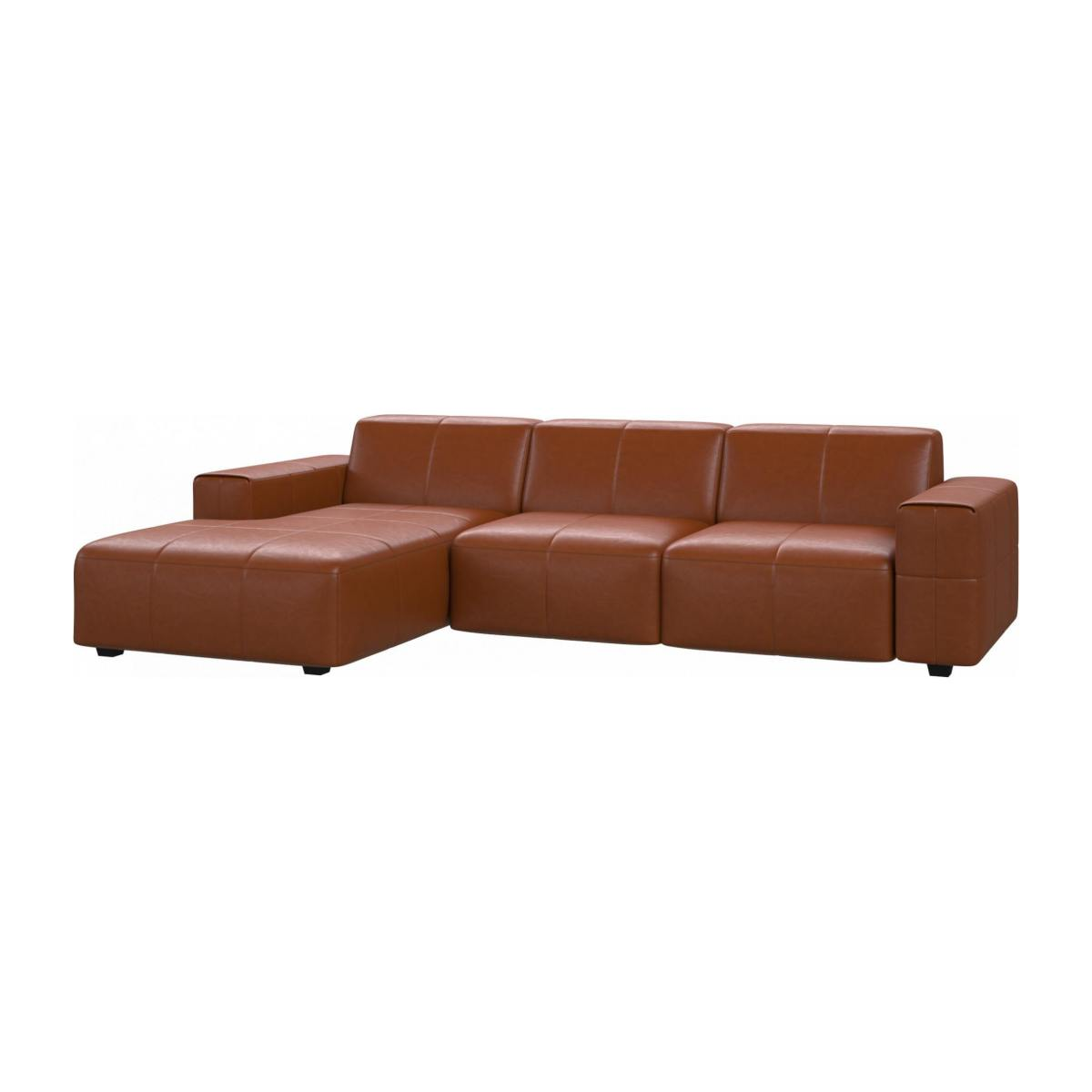3 seater sofa with chaise longue on the left in Vintage aniline leather, old chestnut n°3