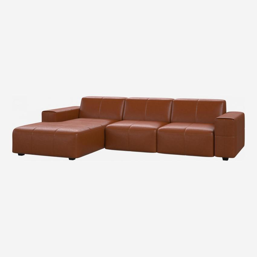 3 seater sofa with chaise longue on the left in Vintage aniline leather, old chestnut