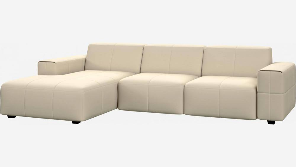 3 seater sofa with chaise longue on the left in Eton veined leather, cream